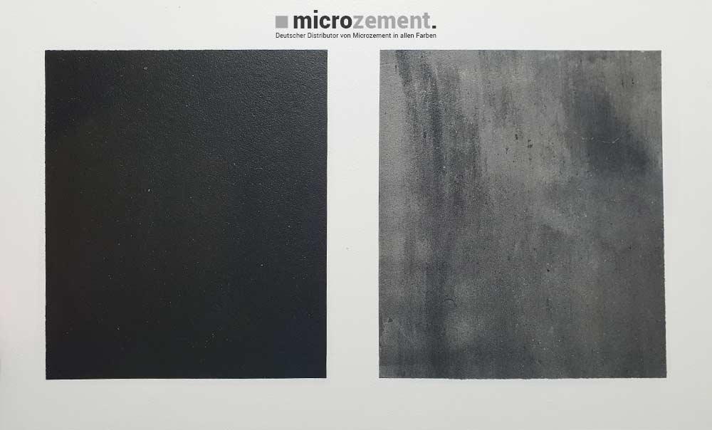Microzement Proben schwarz und Antrazit kreativ