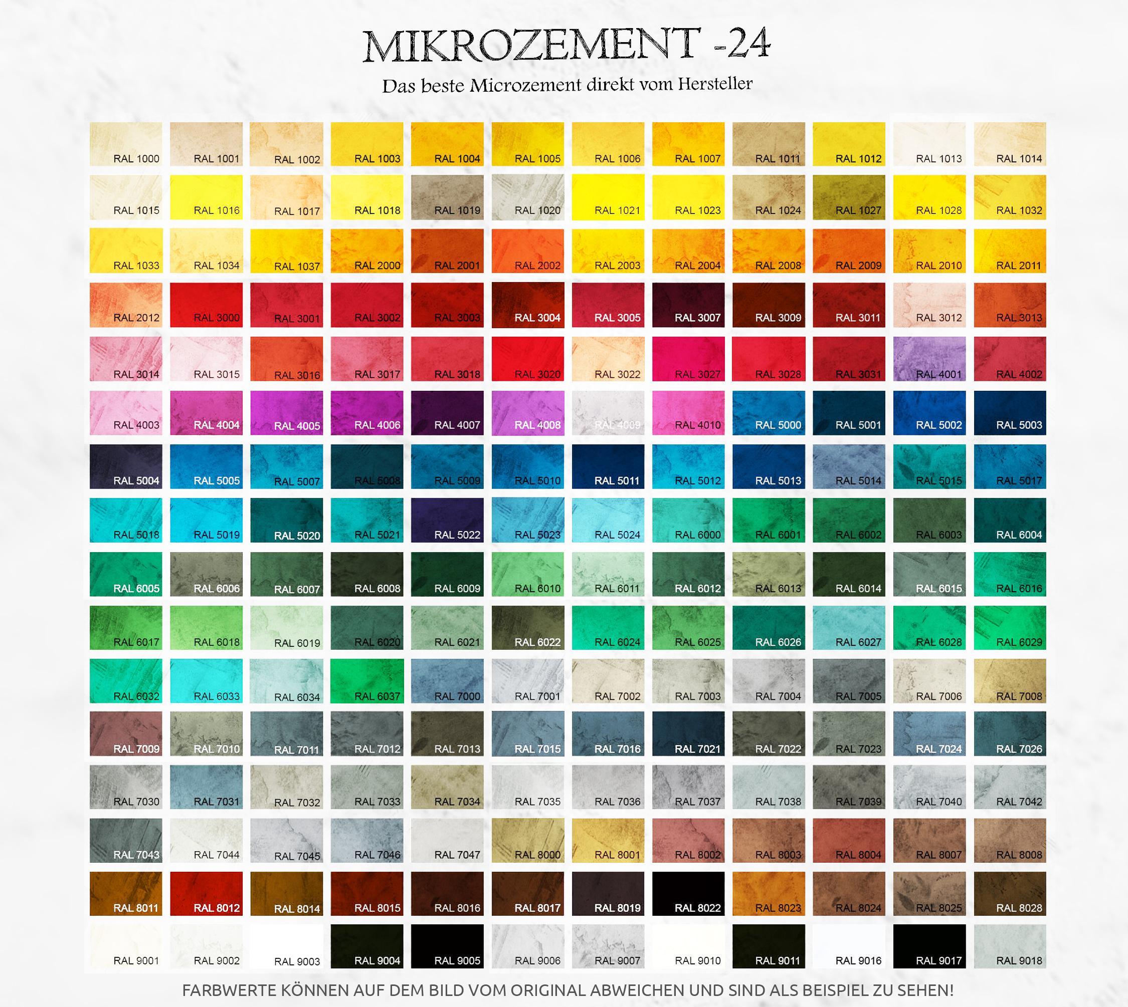 Microzement RAL-Farbtafel