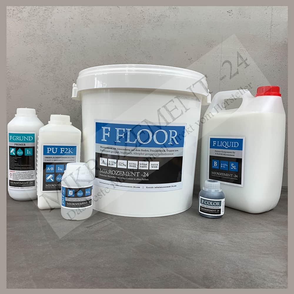 F-Floor Microzement, 10m2 Spachtelmasse für Boden, Bad, Dusche